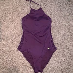 one piece cutout halter swimsuit